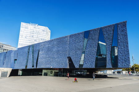 blau: Barcelona, Spain - October 31, 2015: Forum Building was built for the 2004 Universal Forum of Cultures, now its the Museum of Natural Sciences (Museu Blau)