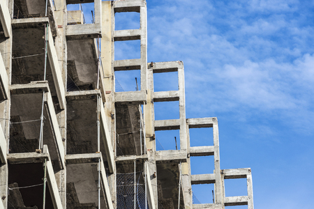 Remodeling of an office skyscraper in a block of flats in Barcelona, Catalonia, Spain Stock Photo