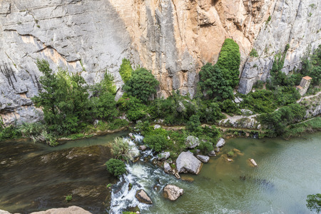 peaceful background: Waterfall nestled between mountains in Montanejos, Spain Stock Photo