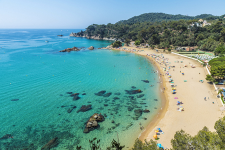 costa brava: Overview of Santa Cristina beach in Lloret de Mar in Costa Brava, Catalonia, Spain Stock Photo