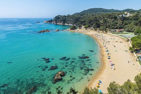 Overview of Santa Cristina beach in Lloret de Mar in Costa Brava, Catalonia, Spain Stock fotó