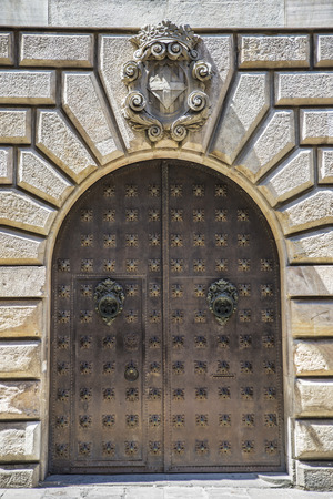 at close quarters: Iron door of a medieval palace in the Gothic Quarter in Barcelona, Catalonia, Spain Editorial