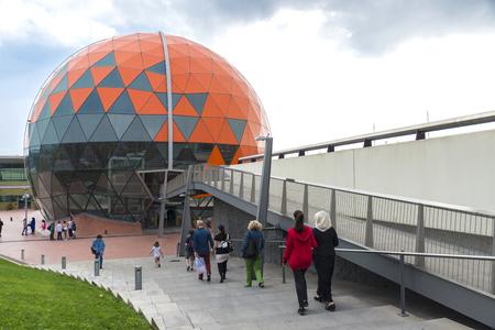 emphasizes: Badalona, Spain - November 1, 2014: Magic Badalona is a shopping and leisure center which emphasizes its large dome shaped basket ball