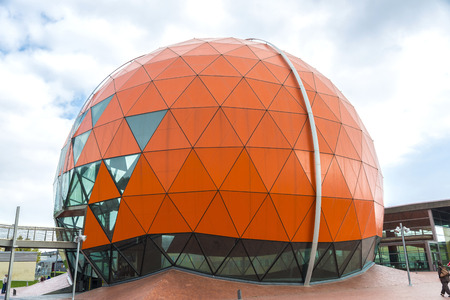 Badalona, Spain - November 1, 2014: Magic Badalona is a shopping and leisure center which emphasizes its large dome shaped basket ball