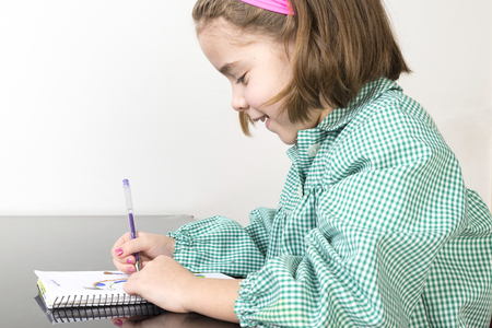 smock: Little girl with a green plaid smock writing and drawing in a notebook at home