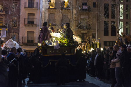 semana santa: Tarragona, Spain - March 25, 2016: Easter Week, Holy Week or Semana Santa, Nazarene processions, bands of music, religious celebrations of international interest.