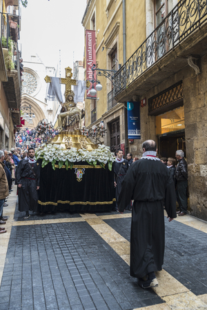 processions: Tarragona, Spain - March 25, 2016: Easter Week, Holy Week or Semana Santa, Nazarene processions, bands of music, religious celebrations of international interest.