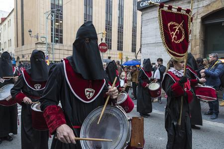 semana santa: Tarragona, Spain - March 25, 2016: Easter Week, Holy Week or Semana Santa, Nazarene processions, bands of music, religious celebrations of international interest.