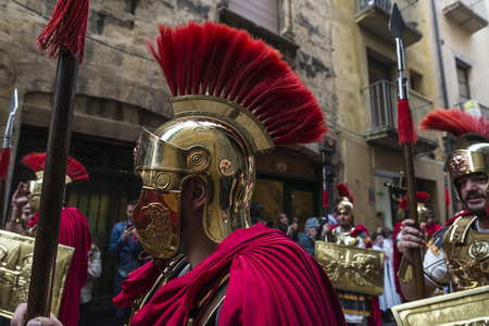 procession: Tarragona, Spain - March 25, 2016: Easter Week, Holy Week or Semana Santa, Nazarene processions, bands of music, religious celebrations of international interest.