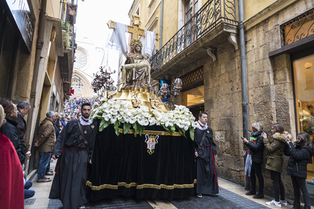 Tarragona, Spain - March 25, 2016: Easter Week, Holy Week or Semana Santa, Nazarene processions, bands of music, religious celebrations of international interest.