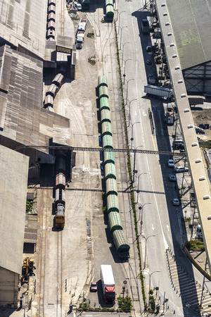 fuel tanks: Train with gas and fuel tanks at the port of Barcelona, Catalonia, Spain