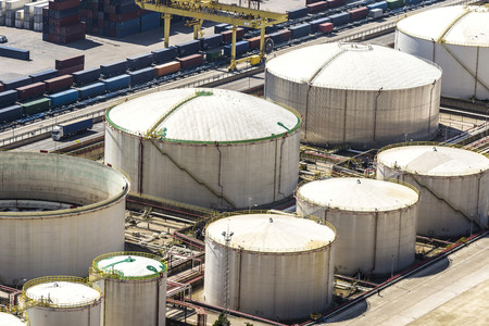 fuel tanks: Gas and fuel tanks at the port of Barcelona, Catalonia, Spain Editorial