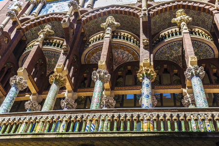modernisme: Barcelona, Spain - April 19, 2016: Facade of the Palau de la Musica Catalana (Catalan music palace). It is a concert hall designed by Lluis Domenech i Montaner and is part of the UNESCO world heritage sites. Editorial