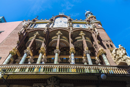 part of me: Barcelona, Spain - April 19, 2016: Facade of the Palau de la Musica Catalana (Catalan music palace). It is a concert hall designed by Lluis Domenech i Montaner and is part of the UNESCO world heritage sites. Editorial