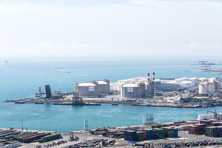 april 15: Barcelona, Spain - April 15, 2016: Gas and fuel tanks at the port of Barcelona, Catalonia, Spain