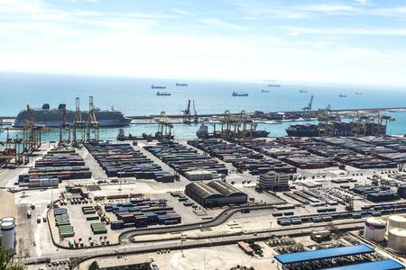 loading dock: Barcelona, Spain - April 15, 2016: View of the loading dock of goods at the port of Barcelona Editorial