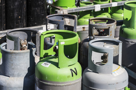 Barcelona, Spain - April 19, 2016: Refrigerant gas cylinders ready for transport in the port of Barcelona, Catalonia, Spain