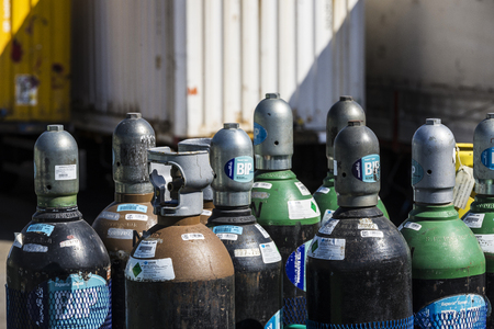 propane: Barcelona, Spain - April 19, 2016: Propane cylinders ready for transport in the port of Barcelona, Catalonia, Spain Editorial