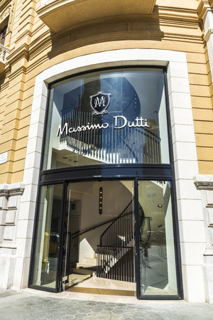 massimo: Barcelona, Spain - May 4, 2016: Massimo Dutti store located on Passeig de Gracia, one of the most expensive streets in Europe.