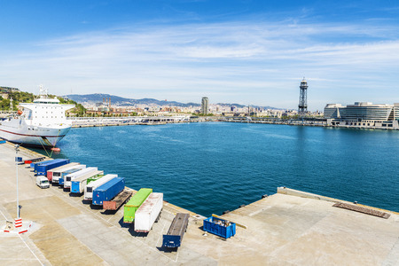loading dock: View of the loading dock of goods at the port of Barcelona