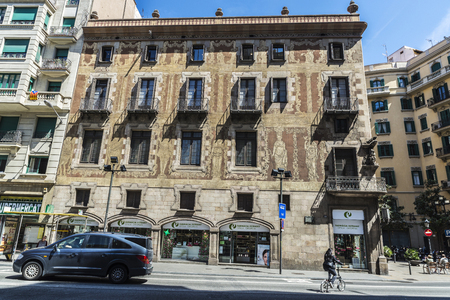 eighteenth: Barcelona, Spain - April 19, 2016: Velers house, built in the eighteenth century with sgraffito on the facade in the old town of Barcelona, Catalonia, Spain