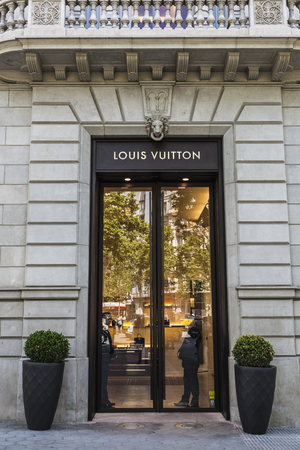 Barcelona, Spain - May 25, 2016: Louis Vuitton shop located on Passeig de Gracia, one of the most expensive streets in Europe.
