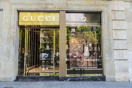 gucci shop: Barcelona, Spain - May 25, 2016: Gucci shop located on Passeig de Gracia, one of the most expensive streets in Europe.