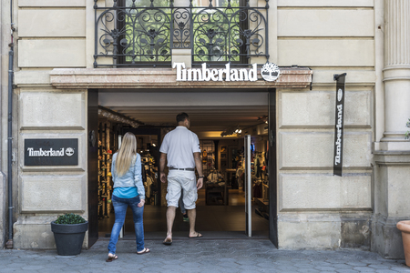 timberland: Barcelona, Spain - May 25, 2016: Timberland shop located on Passeig de Gracia, one of the most expensive streets in Europe. Editorial