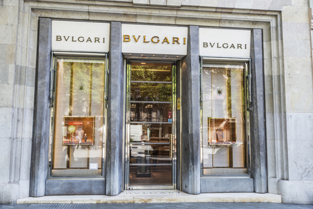 upper class: Barcelona, Spain - May 25, 2016: Bulgari shop located on Passeig de Gracia, one of the most expensive streets in Europe.