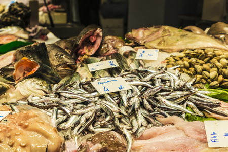 Fish and seafood shop on the market of La Boqueria, next to Les Rambles in Barcelona, Catalonia, Spain Stock Photo
