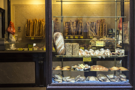 Barcelona, Spain - June 14, 2016: Showcase of a traditional bakery in the old town of barcelona