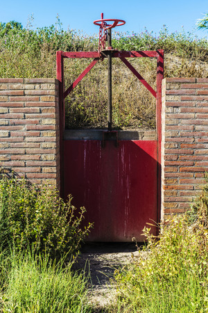 agricultural engineering: Closed gate in an irrigation canal in Girona, Catalonia, Spain