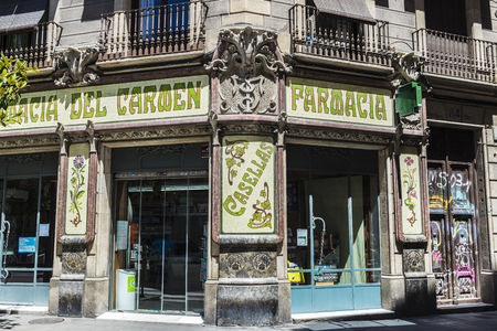 Barcelona, Spain - June 14, 2016: Modernism facade of a pharmacy in old town of Barcelona, Catalonia, Spain