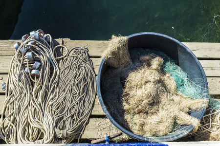 Lots of fishing nets in a port of the Costa Brava, Catalonia, Spain