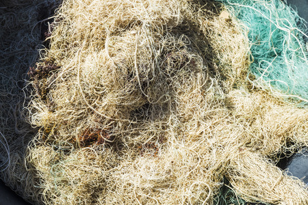 shrimp boat: Lots of fishing nets in a port of the Costa Brava, Catalonia, Spain
