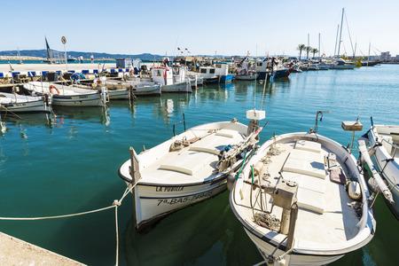Estartit, Spain - June 24, 2016: Fishing port and recreational boats in Estartit located in the Costa Brava, Girona, Catalonia, Spain