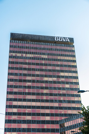 Bilbao, Spain - August 13, 2016: BBVA bank office in the center of Bilbao. This bank is the second largest in Spain Editorial