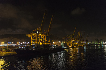 loading dock: Barcelona, Spain - August 19, 2016: View of the loading dock of goods at the port of Barcelona at night Editorial