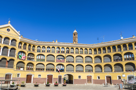 Former bullring converted into housing called Plaza de Toros Vieja in Tarazona de Aragon, Saragossa, Spain