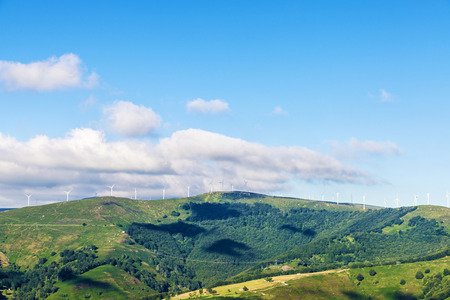 cantabria: Windmill for renewable electric energy production in Cantabria, Spain Stock Photo