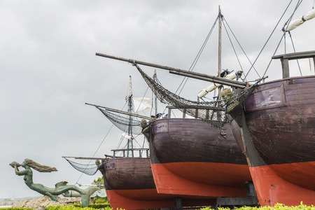discovered: Copy of the three caravels with which Christopher Columbus discovered America in the Pier of the Carabelas inside the park of the Magdalena in Santander, Spain