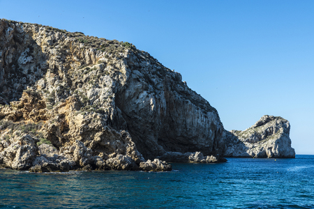 Barren rocks of the Medes islands at the Costa Brava, Girona, Catalonia, Spain Stock Photo