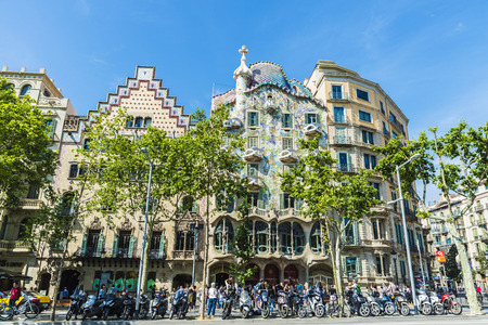 Barcelona, Spain - May 25, 2016: The Amatller House and the Casa Batlló in the Passeig de Gracia in Barcelona, Catalonia, Spain