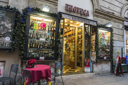 shopwindow: Rome, Italy - December 29, 2016: Liquor store and bar in the historical center of Rome, Italy