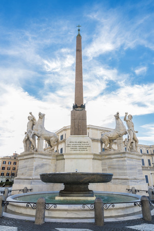 Old sculptural group of Castor and Pollux with horses located in the square of the Quirinal in Rome, Italy Stock Photo