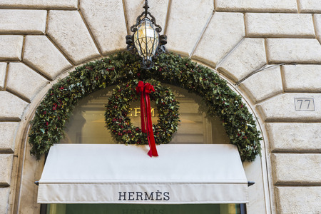 Rome, Italy - January 1, 2017: Hermes shop located on Via Condotti  in Rome, Italy, one of the most exclusives streets in Europe