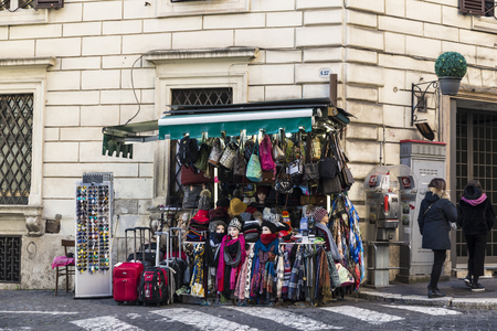 Rome, Italy - January 1, 2017: Shop of clothing accessories on a street in the historical center of Rome, Italy Redakční