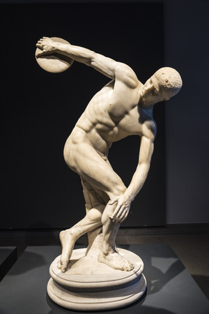 Rome, Italy - January 3, 2017: Roman statue of Discobolos (The Discus Thrower) by Myron in Rome, Italy Editorial