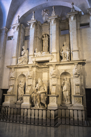 vincoli: Rome, Italy - January 5, 2017:  Marble statue of Moses sculpted by Michelangelo in the San Pietro in Vincoli church in Rome, Italy