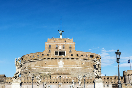 Castle of Sant Angelo seen from the bridge Sant Angelo in Rome, Italy